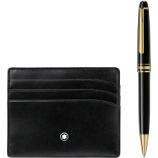 Mont Blanc Set with Meisterstück Yellow Gold Classique Ballpoint Pen and Black Pocket Holder 6cc 萬寶龍大班系列金色原子筆+卡片套