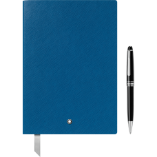 Mont Blanc Set with Meisterstück Platinum Classique Ballpoint Pen and Notebook #146 Electric Blue 萬寶龍 大班系列  原子筆+筆記本 118961